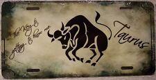 Aluminum License Plate Zodiac Sign Taurus The Bull Astrology NEW