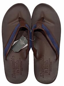 NWT ABERCROMBIE & FITCH Men's Leather Flip Flops Sz XXL Brown Blue