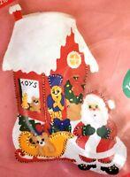 "Toy Shop Christmas Stocking Craft Kit 18"" Santa Applique Felt Sequin Hobby Kraft"