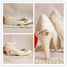 "2017 IVORY WHITE Lace Pearl Wedding Bridal Shoes Party Dance Flat 2"" 3"" Heels"
