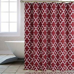 """Extra Long 84"""" Geometric Red Burgundy Textured Fabric Shower Curtain"""