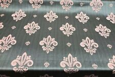 Fleur De Lis Sage Green Damask Jacquard Fabric By the yard