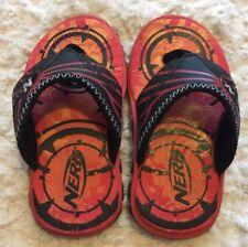 Nerf Boys Red Orange Black Sandals Flip Flops Size 8