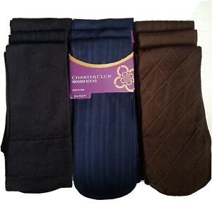 3 Pairs Charter Club Socks Womens Trouser Socks Assorted Nylon Spandex Socks