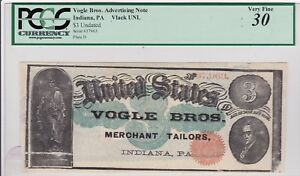 Indiana, Pa Advertising $3 note Vlack Unlisted, PCGS 30, Merchant Tailors