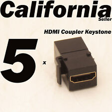 5 Pack Lot HDMI Keystone Wall Plate Snap-In Jack Insert Coupler Female Black