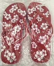 NEW Women's Size 8 Red and White Tropical Flip Flops with Hibiscus Flowers Beach