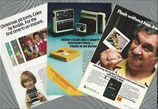 1976-79 KODAK INSTANT CAMERA advertisements x3, EK6, Handle Colorburst PR10 film