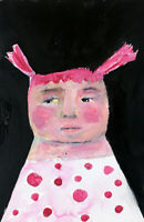 Pink Hair & Polka Dots Girl Painting Original Paper Art by Katie Jeanne Wood