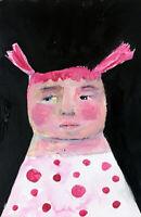 Pink Hair & Polka Dots Girl Painting Original Paper Art by Katie Jeanne Wood