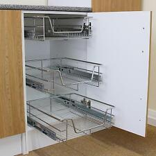 2 Pull Out Kitchen Wire Baskets Slide Out Storage Cupboard Drawer Larder 600mm