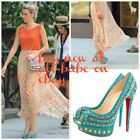 Christian Louboutin 150 Turquoise Bollywoody heels shoes sandals 36.5 NIB $2795