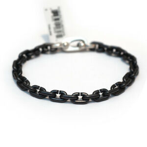 New DAVID YURMAN Men's 6.3mm Links Chain Bracelet Black Titanium & Silver Small
