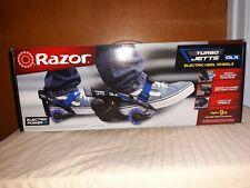 NEW Razor Turbo Jetts Electric Heel Wheels DLX Blue with Lighted Wheels