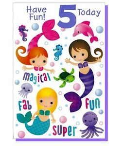 Age 5 Happy Birthday Card - Mermaid Sealife Girl Girls Children Pink 5th Fifth