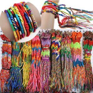 Rainbow Friendship Bracelet Anklet Braid Cord String Rope Womens Mens Lucky UK