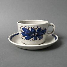 vintage cup saucer collection art pottery norway stavangerflint blue brown grey