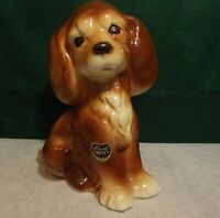 Vintage 1950s Royal Copley Ceramic Art Pottery Brown Puppy Dog with label