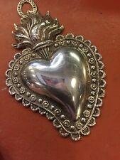 cuore ex voto Lamina metallo bagno argento 7x4,5 cm vintage milagros