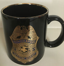 US Imigration Special Agent 1 cup coffee/tea mug withn gold badge and rim