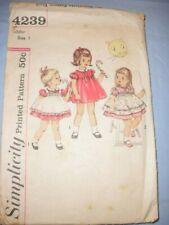 Vintage 1950s Childs' Simplicity  Pattern 4239 Dress & Pinafore  Size 1