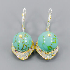 Turquoise Earrings Silver 925 Sterling Set Jewelry Design  /E44598