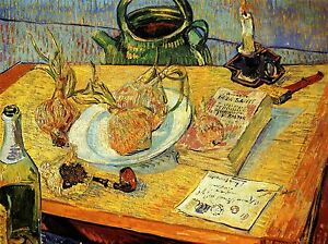 VINCENT VAN GOGH STILL LIFE DRAWING BOARD PIPE ONIONS WAX PICTURE 2926OMLV