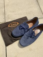 TODS AUTHENTIC GOMMINO ITALIAN BLUE SUEDE LOAFERS DRIVING SHOES UK8 EU41