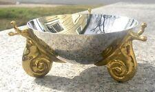 New listing Modernist Michael Aram 3 Legged Brass Snail & Chrome Bowl - Signed