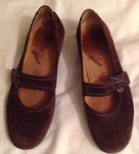 Ladies Brown Suede Gabor Mary Jane Shoes Leather Size 3 1/2 Eur36