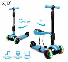 Xjd 3 In 1Kick Scooter Removable Seat Boy Girl Stand Or Sit Adjustable Height