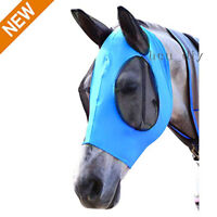 Horse Fly Mask Fit Horse Size Comfort Lycra Fly Mask with Mesh Eye and Ears Blue