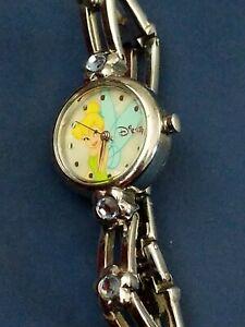Disney Tinkerbell Girls Silver  Watch MC 1772  Blue Stones centered 🌺 flowers