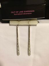 """Mark Avon """"OUT OF LINE"""" Earrings - new in box! burnished silvertone!"""