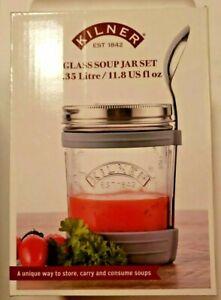 Kilner Clear Glass Soup Jar, Lid, Spoon Silicone Holder Set 11.8 oz cap NEW