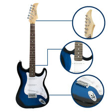 """Full Size 39"""" Blue Electric Guitar with Amp,Case,Accessories Pack Beginner New"""