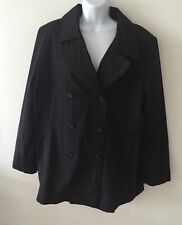WOMEN'S NEW YORK AND COMPANY COLOR BLACK RAINCOAT JACKET STRAPPED BACK SZ M