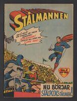 Superman - Stålmannen - DC Comics - 1957 Vintage Swedish Comic #Nr 9 VG