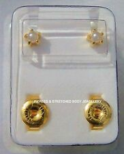 Stud 4mm STERILE 24ct Gold Plated PEARL Stud EARRINGS - Sold in pairs