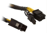 CB-6M-68F 6-pin PCI-E to PCI-E 6+2pin cable, 8inch, Black Sleeved
