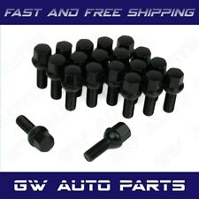 20 PCs Black M14x1.5 Lug Bolts 28mm Shank Ball Seat Wheel Lug Bolts
