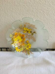 Floral Scalloped Acrylic/Hard Plastic Bowl with Painted Gold Trimmed Flowers