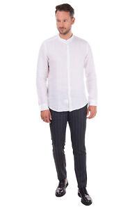 TESSABIT COMO Jacquard Shirt Size 43 / XL White Patterned Round Hem Long Sleeve