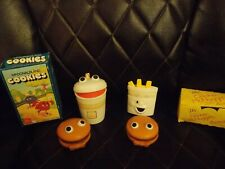 McDonald's Happy Meal Toys Lot Hamburger Fry Drink Toys + Cookie & McNugget Box