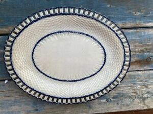 Great Antique Pearlware Reticulated Tray, Blue Basket Weave Border. Clean