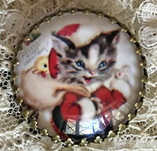 """CAT IN SANTA SUIT Glass Dome Button 1 1/4"""" Vintage Christmas Card Art Kitten"""