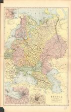 1893 ANTIQUE MAP - RUSSIA, MOSCOW, ST PETERSBURG, ODESSA
