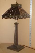 Vtg Mission Table Lamp W/ Shade Antique Arts & Crafts Lamp Base Verdelite Base