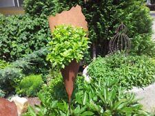 Pflanztüte Edelrost 60 cm mit Stab, Handgefertigte Rosttüten zum bepflanzen