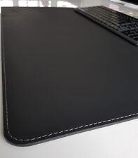 Schreibtischunterlage Echt Leder 90 x 50 Schwarz mit Silbergrauer Naht